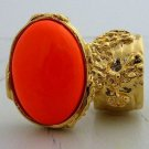 Arty Oval Ring Neon Orange Gold Hand Painted Chunky Armor Knuckle Art Statement Jewelry Size 4.5