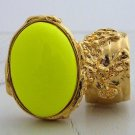 Arty Oval Ring Neon Yellow Gold Hand Painted Chunky Armor Knuckle Art Statement Jewelry Size 5.5