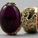 Arty Oval Ring Fuchsia Gold Chunky Armor Knuckle Art Statement Avant Garde Jewelry Size 4.5