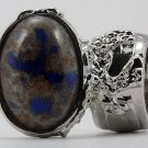 Arty Oval Ring Blue Gray Copper Sparkles Vintage Glass Silver Chunky Armor Deco Knuckle Art Size 8.5