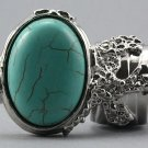 Arty Oval Ring Turquoise Silver Chunky Armor Knuckle Art Statement Avant Garde Jewelry Size 8