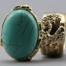 Arty Oval Ring Turquoise Gold Chunky Armor Knuckle Art Statement Avant Garde Jewelry Size 5.5