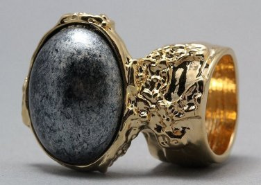 Arty Oval Ring Metallic Silver Black Gold Chunky Armor Knuckle Art Statement Avant Garde Size 5.5