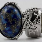 Arty Oval Ring Blue Mottled Gold Flecks Silver Chunky Knuckle Art Avant Garde Statement Size 8.5