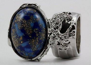 Arty Oval Ring Blue Mottled Gold Flecks Silver Chunky Knuckle Art Avant Garde Statement Size 10
