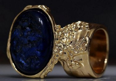 Arty Oval Ring Metallic Blue Black Gold Chunky Knuckle Art Avant Garde Statement Jewelry Size 4.5