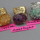Gemstone Chips Abstract Arty Ring Peridot Citrine Amethyst Amazonite Crystal Quartz Silver Gold