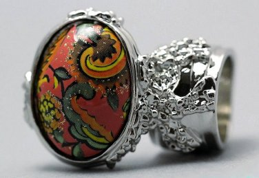 Arty Oval Ring Paisley Glitter Orange Multi Vintage Silver Armor Knuckle Art Statement Size 8