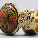 Arty Oval Ring Paisley Glitter Orange Multi Vintage Gold Armor Knuckle Art Statement Size 5.5