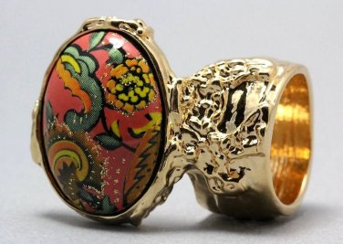 Arty Oval Ring Paisley Glitter Orange Multi Vintage Gold Armor Knuckle Art Statement Size 10