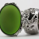 Arty Oval Ring Lime Glow Silver Chunky Jewelry Armor Knuckle Art Statement Deco Avant Garde Size 8