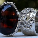 Arty Oval Ring Tortoise Glass Brown Black Silver Chunky Artsy Knuckle Art Vintage Statement Size 8