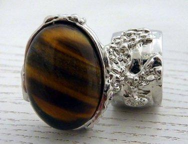 Arty Oval Ring Tiger's Eye Silver Artsy Chunky Knuckle Art Gemstone Avant Garde Statement Size 6