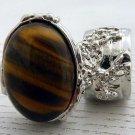 Arty Oval Ring Tiger's Eye Silver Artsy Chunky Knuckle Art Gemstone Avant Garde Statement Size 9