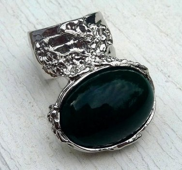 Arty Oval Ring Green Vintage Italian Glass Silver Artsy Chunky Deco Knuckle Art Statement Size 10