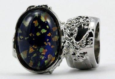 Arty Oval Ring Blue Multi Opal Vintage Glass Silver Artsy Chunky Knuckle Art Statement Size 5