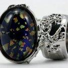 Arty Oval Ring Blue Multi Opal Vintage Glass Silver Artsy Chunky Knuckle Art Statement Size 6