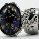 Arty Oval Ring Blue Multi Opal Vintage Glass Silver Artsy Chunky Knuckle Art Statement Size 8.5