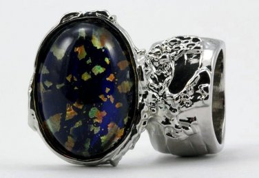 Arty Oval Ring Blue Multi Opal Vintage Glass Silver Artsy Chunky Knuckle Art Statement Size 9