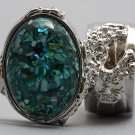 Arty Oval Ring Turquoise Mosaic Shell Silver Artsy Designer Chunky Knuckle Art Statement Size 8.5