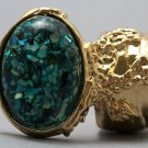 Arty Oval Ring Turquoise Mosaic Shell Gold Artsy Designer Chunky Knuckle Art Statement Size 4.5
