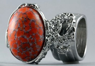 Arty Oval Ring Coral Matrix Glass Silver Artsy Designer Chunky Deco Knuckle Art Statement Size 5