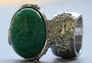 Arty Oval Ring Jade Green Glass Silver Artsy Designer Chunky Deco Knuckle Art Statement Size 8