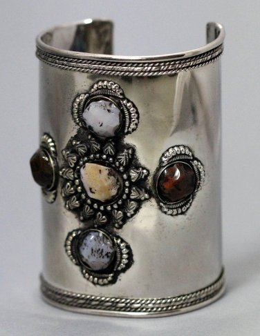 Agate Cross Design Bracelet Antique Silver Cuff Tribal Ethnic Bangle Ornate Bollywood Exotic Jewelry