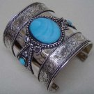 Turquoise Beads Exotic Cuff Bracelet Ethnic Tribal Ornate Bangle Antique Silver Kuchi Bollywood