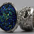 Arty Oval Ring Druzy Style Blue Silver Artsy Designer Chunky Deco Knuckle Art Statement Size 6
