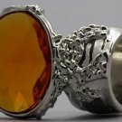 Arty Oval Ring Topaz Vintage Faceted Silver Designer Chunky Deco Knuckle Art Statement Size 8