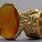Arty Oval Ring Topaz Vintage Faceted Gold Designer Chunky Deco Knuckle Art Statement Size 5.5