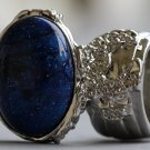 Arty Oval Ring Cosmic Blue Midnight Sky Silver Chunky Artsy Armor Knuckle Art Statement Size 5