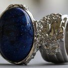 Arty Oval Ring Cosmic Blue Midnight Sky Silver Chunky Artsy Armor Knuckle Art Statement Size 8.5