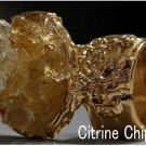 Arty Oval Ring Citrine Gemstone Chips Gold Abstract Artsy Cluster Knuckle Art Statement Size 4.5