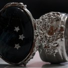 Arty Oval Ring Shooting Stars Silver Glass Sparkly Fantasy Galaxy Chunky Artsy Knuckle Art Size 8.5