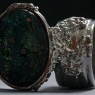 Arty Oval Ring Atlantis Green Galaxy Silver Glass Sparkly Fantasy Chunky Artsy Knuckle Art Size 6
