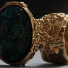 Arty Oval Ring Atlantis Green Galaxy Gold Glass Sparkly Fantasy Chunky Artsy Knuckle Art Size 4.5