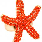 Starfish Ring Ocean Jewelry Beach Mermaid Nautical Statement Matte Gold Coral Studs