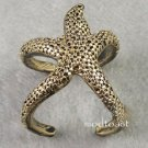 Starfish Wrap Ring Ocean Jewelry Beach Mermaid Nautical Antique Gold Statement Size 7 7.5
