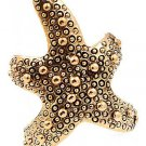 Starfish Wrap Ring Ocean Jewelry Beach Mermaid Nautical Antique Gold Textured Star Statement