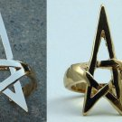 Pentagram Pentacle Bracelet & Ring Set Gold Openwork Wicca Wiccan Pagan Witch Punk Gothic Goth