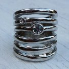 Cage Style Knuckle Ring Crystal Studs Statement Metal Spiral Armor Jewelry Size 6