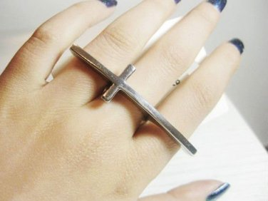 Sideways Cross Ring Forever 21 Boho Indie Bohemian Knuckle Armor Silver Single Curved Size 6