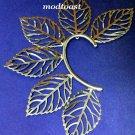 Leaf Ear Cuff Wrap Earring Silver Designer Style Body Armor Statement Leaves