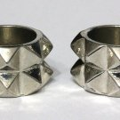 2 piece Pyramid Spike Knuckle Ring Silver Double Armor Boho Punk Tribal Size 6.5