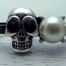 Two Finger Skull Cross Ring Goth Emo Double Knuckle Connector Black Antique Silver Pearl Bead