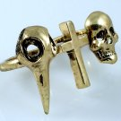 Raven Cross Skull Two Finger Ring Halloween Antique Gold Goth Punk Armor Knuckle Size 7 Size 8
