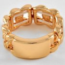 ID Tag Ring Gold Rectangle Bar Designer Celebrity Style Curb Chain Link Band Armor Stretch