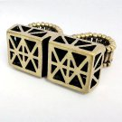 Two finger Geometric Ring Antique Brass Chunky Armor Knuckle Art Statement Rihanna Miley Style